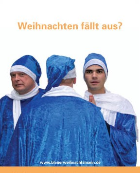 Blauer Weihnachsmänner